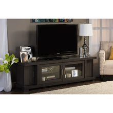 Baxton Studio Viveka 70-Inch Dark Brown Wood TV Cabinet with 2 Glass Doors and 2 Doors Baxton Studio-TV Stands-Minimal And Modern - 5