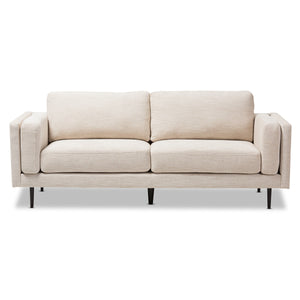 Baxton Studio Brittany Retro Mid-Century Modern Light Beige Fabric Upholstered 3-Seater Sofa Baxton Studio-sofas-Minimal And Modern - 3