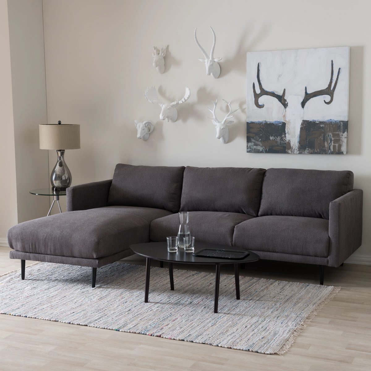 Baxton Studio Riley Retro Mid-Century Modern Grey Fabric Upholstered Left Facing Chaise Sectional Sofa Baxton Studio-sectionals-Minimal And Modern - 1