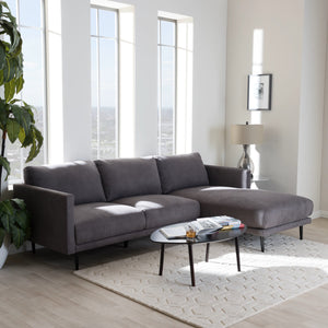 Baxton Studio Riley Retro Mid-Century Modern Grey Fabric Upholstered Right Facing Chaise Sectional Sofa Baxton Studio-sectionals-Minimal And Modern - 1