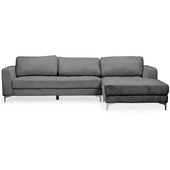 Baxton Studio Agnew Contemporary Light Beige Microfiber Right Facing Sectional Sofa Baxton Studio-sectionals-Minimal And Modern - 1