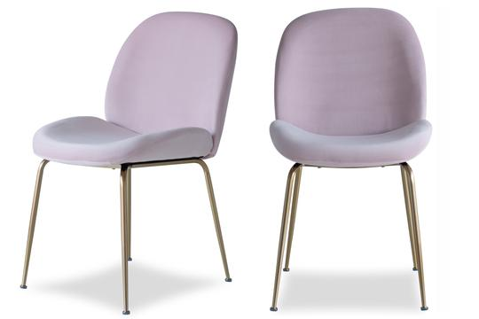 Edloe Finch Verona Dining Chair in Blush Pink Velvet, Set of 2 - EF-ZX-DC013P