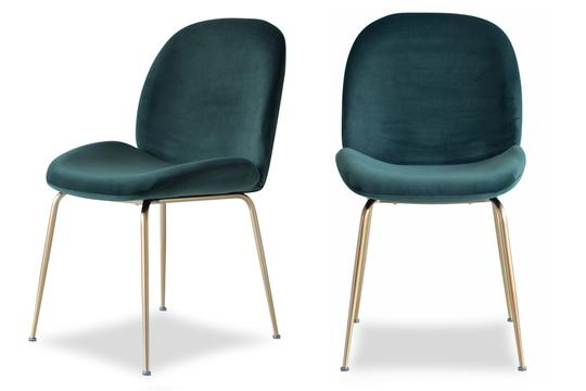 Edloe Finch Verona Dining Chair in Emerald Green Velvet, Set of 2 - EF-ZX-DC013G