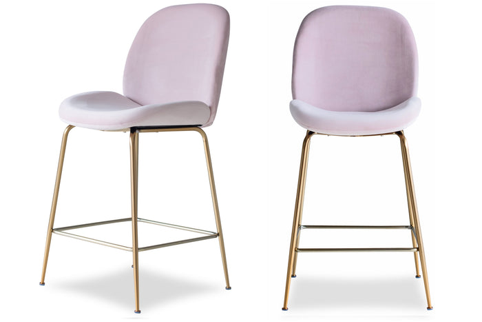 Edloe Finch Verona Counterstool in Blush Pink Velvet, Set of 2 - EF-ZX-CS001P