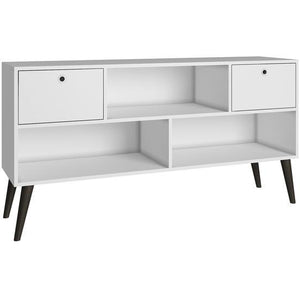 Manhattan Comfort Modern Uppsala TV Stand with 3- Shelves and 2- Drawers White and Grey Feet, TV Stands - Manhattan Comfort, Minimal & Modern - 1