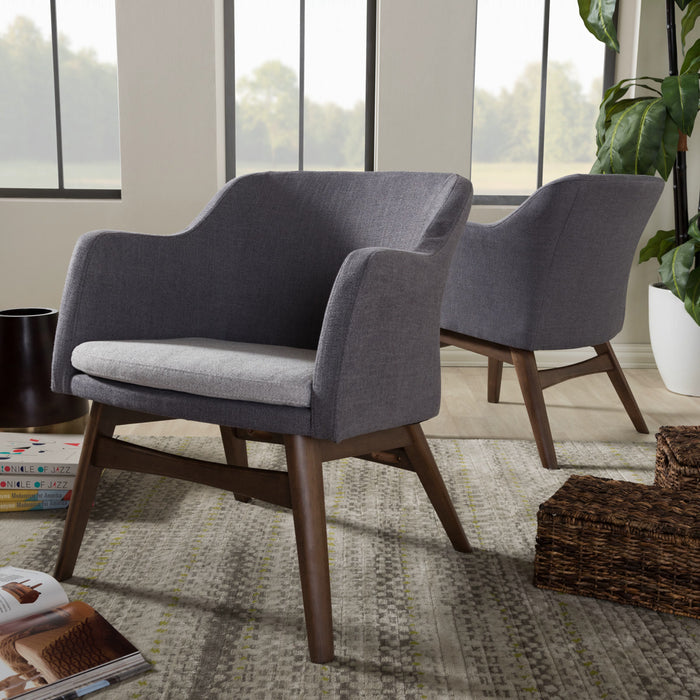 Baxton Studio Vera Mid-Century Modern Two-Tone Grey Fabric Lounge Chair (Set of 2) Baxton Studio-chairs-Minimal And Modern - 1