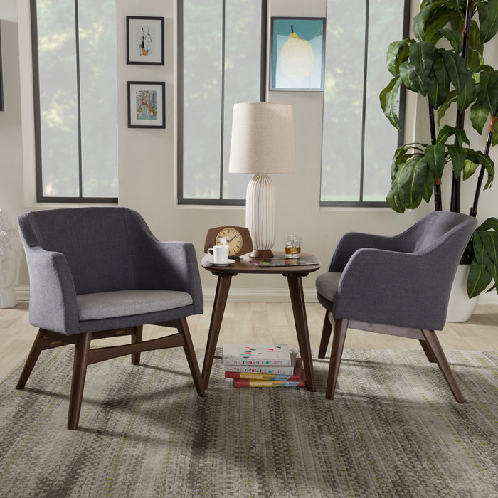 Baxton Studio Vera Mid-Century Modern 3-Piece Lounge Chair and Side Table Set Baxton Studio--Minimal And Modern - 1