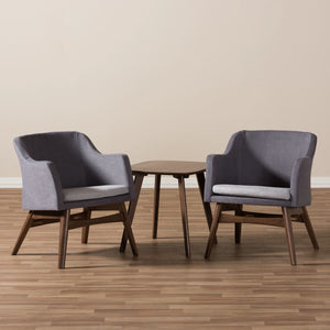 Baxton Studio Vera Mid-Century Modern 3-Piece Lounge Chair and Side Table Set Baxton Studio--Minimal And Modern - 5
