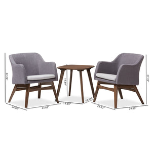 Baxton Studio Vera Mid-Century Modern 3-Piece Lounge Chair and Side Table Set Baxton Studio--Minimal And Modern - 6