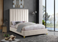 Meridian Furniture Via Cream Velvet King Bed