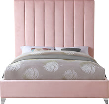 Meridian Furniture Via Pink Velvet King Bed