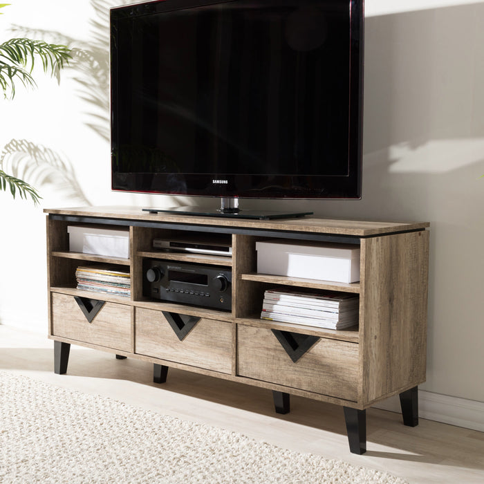 Baxton Studio Wales Modern and Contemporary Light Brown Wood 55-Inch TV Stand Baxton Studio-TV Stands-Minimal And Modern - 1