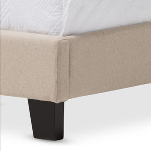 Baxton Studio Paris Modern and Contemporary Beige Linen Upholstered Twin Size Tufting Bed