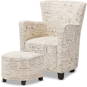 Baxton Studio Benson French Script Patterned Fabric Club Chair and Ottoman Set Baxton Studio-chairs-Minimal And Modern - 1