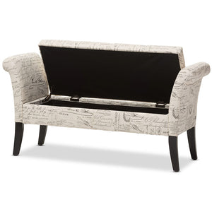Baxton Studio Avignon Script-Patterned French Laundry Fabric Storage Ottoman Bench Baxton Studio-benches-Minimal And Modern - 5