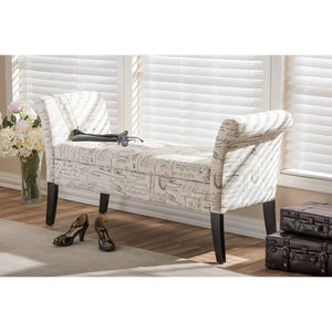 Baxton Studio Avignon Script-Patterned French Laundry Fabric Storage Ottoman Bench Baxton Studio-benches-Minimal And Modern - 6