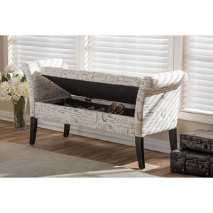 Baxton Studio Avignon Script-Patterned French Laundry Fabric Storage Ottoman Bench Baxton Studio-benches-Minimal And Modern - 7