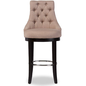 Baxton Studio Harmony Modern and Contemporary Button-tufted Beige Fabric Upholstered Bar Stool with Metal Footrest Baxton Studio-Bar Stools-Minimal And Modern - 1
