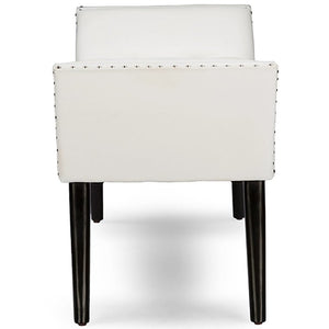Baxton Studio Tamblin Modern and Contemporary White Faux Leather Upholstered Large Ottoman Seating Bench Baxton Studio-benches-Minimal And Modern - 3