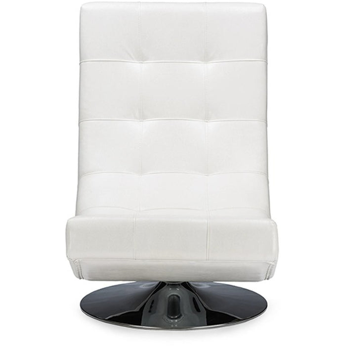 Baxton Studio Baxton Studio Elsa Modern and Contemporary White Faux Leather Upholstered Swivel Chair with Metal Base Baxton Studio-chairs-Minimal And Modern - 1