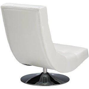 Baxton Studio Baxton Studio Elsa Modern and Contemporary White Faux Leather Upholstered Swivel Chair with Metal Base Baxton Studio-chairs-Minimal And Modern - 4