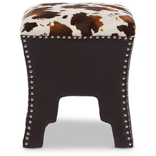 Baxton Studio Sally Modern and Contemporary Cow-print Patterned Fabric Brown Faux Leather Upholstered Accent Stool with Nail heads Baxton Studio-benches-Minimal And Modern - 2