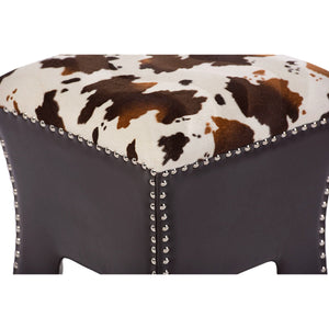 Baxton Studio Sally Modern and Contemporary Cow-print Patterned Fabric Brown Faux Leather Upholstered Accent Stool with Nail heads Baxton Studio-benches-Minimal And Modern - 3