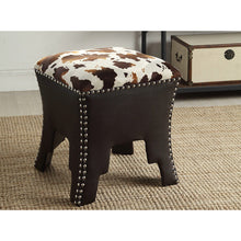 Baxton Studio Sally Modern and Contemporary Cow-print Patterned Fabric Brown Faux Leather Upholstered Accent Stool with Nail heads Baxton Studio-benches-Minimal And Modern - 4