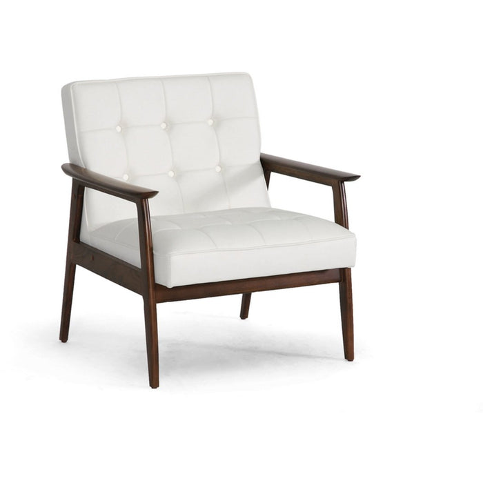 Baxton Studio Stratham White Mid-Century Modern Club Chair Baxton Studio-chairs-Minimal And Modern - 1