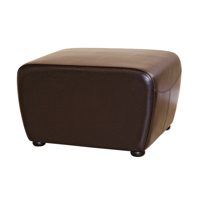 Baxton Studio Dark Brown Full Leather Ottoman with Rounded Sides Baxton Studio-ottomans-Minimal And Modern - 1