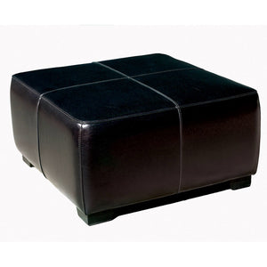Baxton Studio Black Full Leather Square Ottoman Footstool  Baxton Studio-ottomans-Minimal And Modern - 1