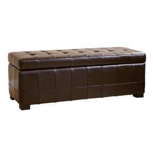 Baxton Studio Dark Brown Full Leather Storage Bench Ottoman with Dimples Baxton Studio-ottomans-Minimal And Modern - 1