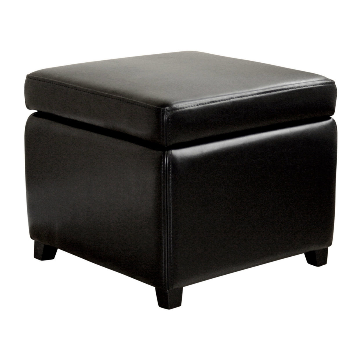 Baxton Studio Black Full Leather Small Storage Cube Ottoman Baxton Studio-ottomans-Minimal And Modern - 1