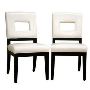 Baxton Studio Faustino Cream Leather Dining Chair (Set of 2) Baxton Studio-dining chair-Minimal And Modern - 1