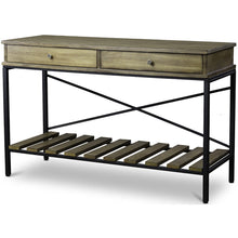Baxton Studio Newcastle Wood and Metal Console Table-Criss-Cross Baxton Studio-side tables-Minimal And Modern - 1