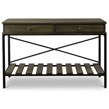 Baxton Studio Newcastle Wood and Metal Console Table-Criss-Cross Baxton Studio-side tables-Minimal And Modern - 2