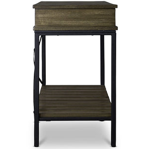 Baxton Studio Newcastle Wood and Metal Console Table-Criss-Cross Baxton Studio-side tables-Minimal And Modern - 4