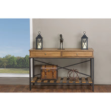 Baxton Studio Newcastle Wood and Metal Console Table-Criss-Cross Baxton Studio-side tables-Minimal And Modern - 6
