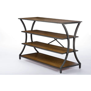 Baxton Studio Lancashire Brown Wood & Metal Console Table Baxton Studio-side tables-Minimal And Modern - 1