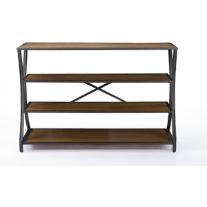 Baxton Studio Lancashire Brown Wood & Metal Console Table Baxton Studio-side tables-Minimal And Modern - 2