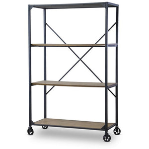 Baxton Studio Caribou Wood and Metal Bookcase Baxton Studio--Minimal And Modern - 1