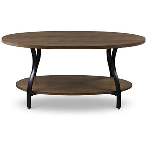Baxton Studio Newcastle Wood and Metal 3-Piece Table Set Baxton Studio-coffee tables-Minimal And Modern - 4