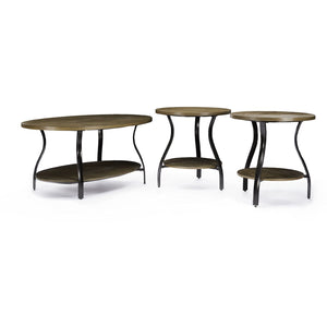 Baxton Studio Newcastle Wood and Metal 3-Piece Table Set Baxton Studio-coffee tables-Minimal And Modern - 7
