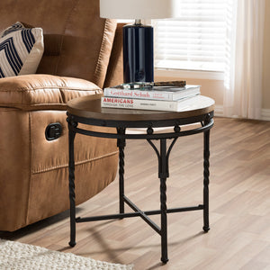 Baxton Studio Austin Vintage Industrial Antique Bronze Round End Table  Baxton Studio-coffee tables-Minimal And Modern - 1