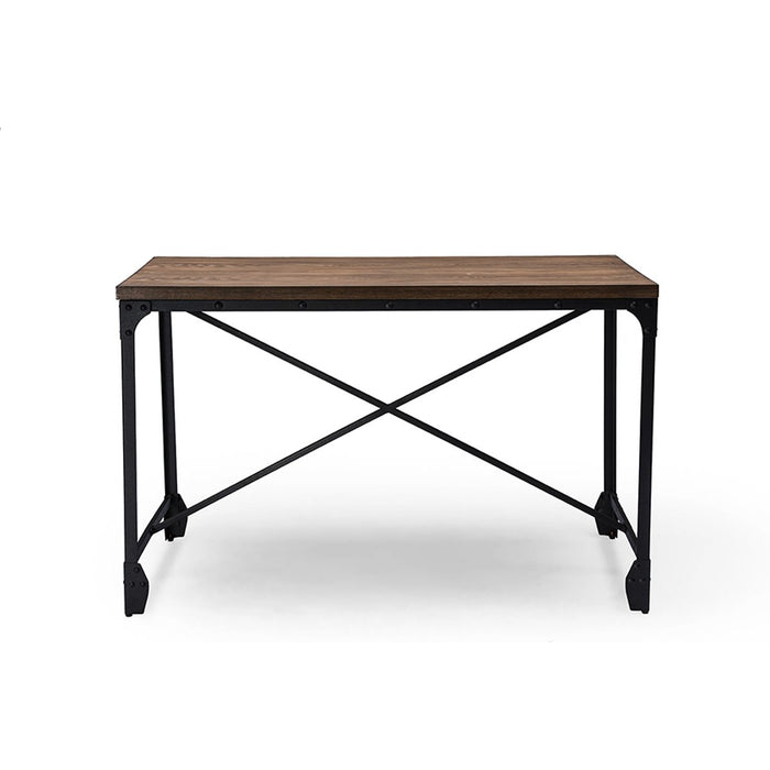 Baxton Studio Greyson Vintage Industrial Antique Bronze Home Office Wood Desk Baxton Studio-Desks-Minimal And Modern - 1