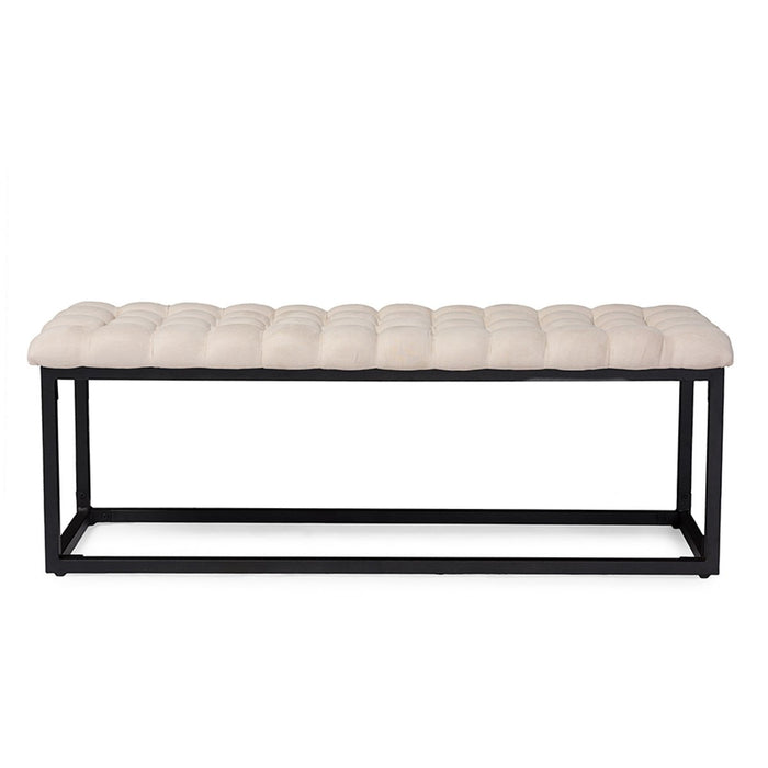 Baxton Studio Zephyr Vintage Industrial Style Antique textured Black Metal Legged Beige Microfiber Tufted Coffee Table Ottoman Bench Baxton Studio-benches-Minimal And Modern - 1