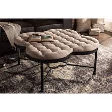 Baxton Studio Branagh Vintage Industrial Style Antique textured Black Metal Beige Microfiber Tufted Coffee Table Ottoman Baxton Studio-benches-Minimal And Modern - 4