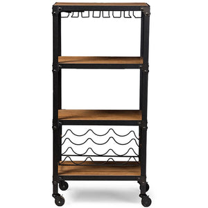 Baxton Studio Swanson Rustic Industrial Style Antique Black Textured Finish Metal Distressed Wood Mobile Kitchen Bar Wine Storage Shelf Baxton Studio--Minimal And Modern - 1