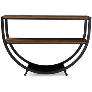 Baxton Studio Blakes Rustic Industrial Style Antique Black Textured Finish Metal Distressed Wood Console Table Baxton Studio-side tables-Minimal And Modern - 1