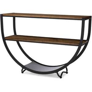 Baxton Studio Blakes Rustic Industrial Style Antique Black Textured Finish Metal Distressed Wood Console Table Baxton Studio-side tables-Minimal And Modern - 2